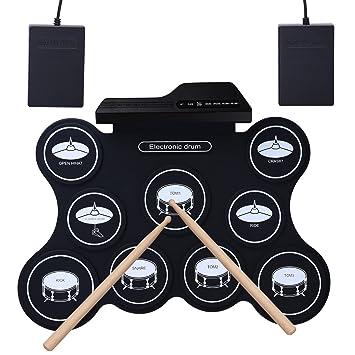 Tambor electrónico ROLL-UP, YOSASO Pad de entrenamiento eléctrico portátil con 9 almohadillas,
