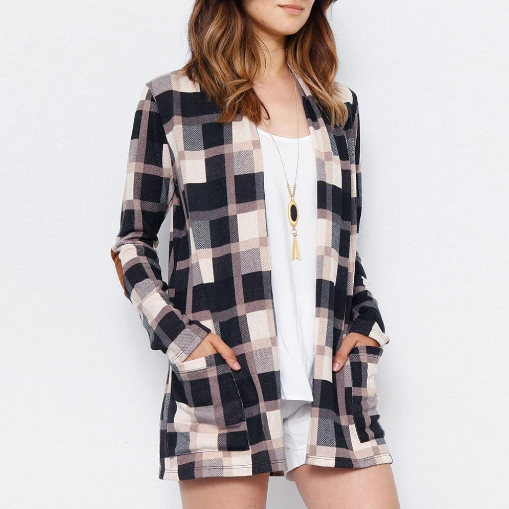 Pervobs Blouses, Big Promotion! Women Ladies Casual Plaid Long Sleeve Loose Shirts Cover Ups Cardigan Jacket Coat Outwear (XL, Khaki) by Pervobs Women Long-Sleeve Shirts (Image #2)