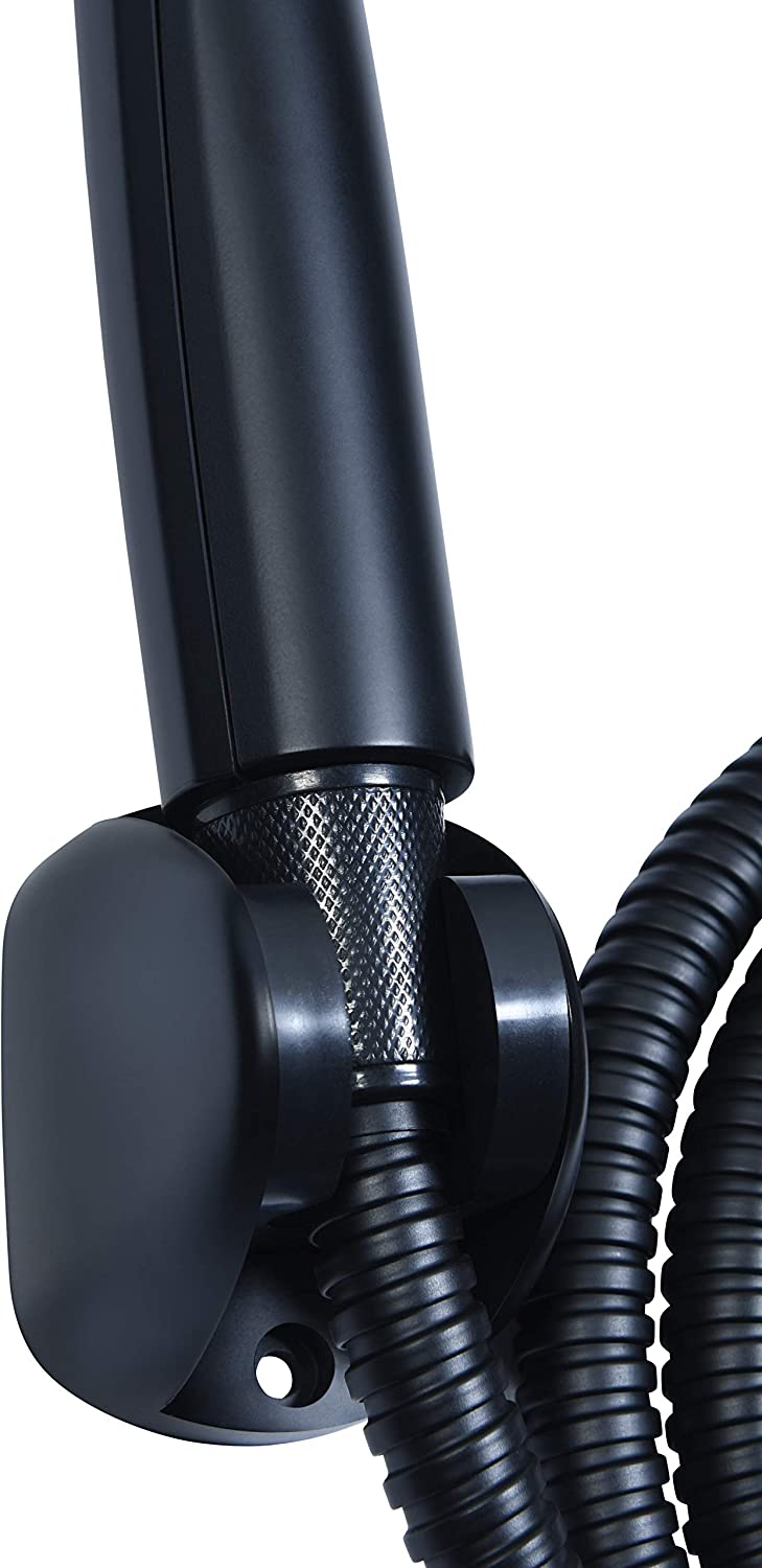 Cornat Noir TECBE3300 Set Black Edition Hand-Held Head 125 mm 3 Types Normal and Spray Jet Anti-Limescale and Water-Saving Attachment Hose and Wall Bar//Shower System