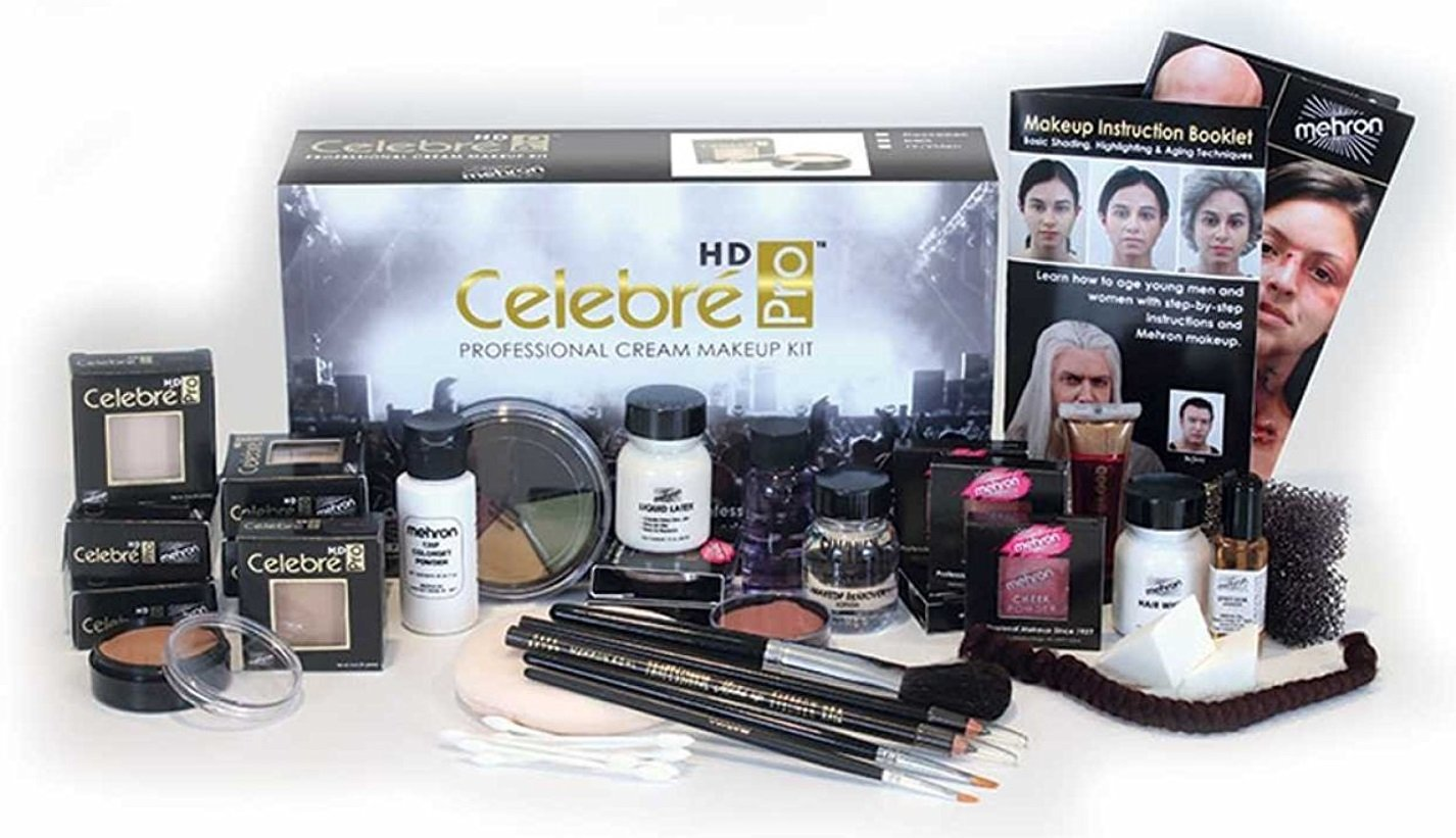 Mehron Celebré Professional HD Cream Makeup Kit |Complete Makeup Artist Beauty Set for Theatre, Stage, Movies, Special Effects, Videos, Photography|Skin, Eyes & Hair Contouring (Dark)