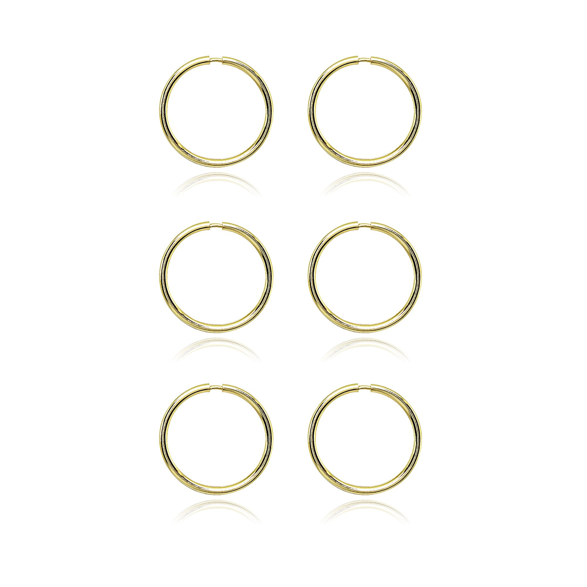 14K Gold Tiny Small Endless 10mm Thin Round Lightweight Unisex Hoop Earrings, Set of 3 Pairs by Hoops 4 Less (Image #3)