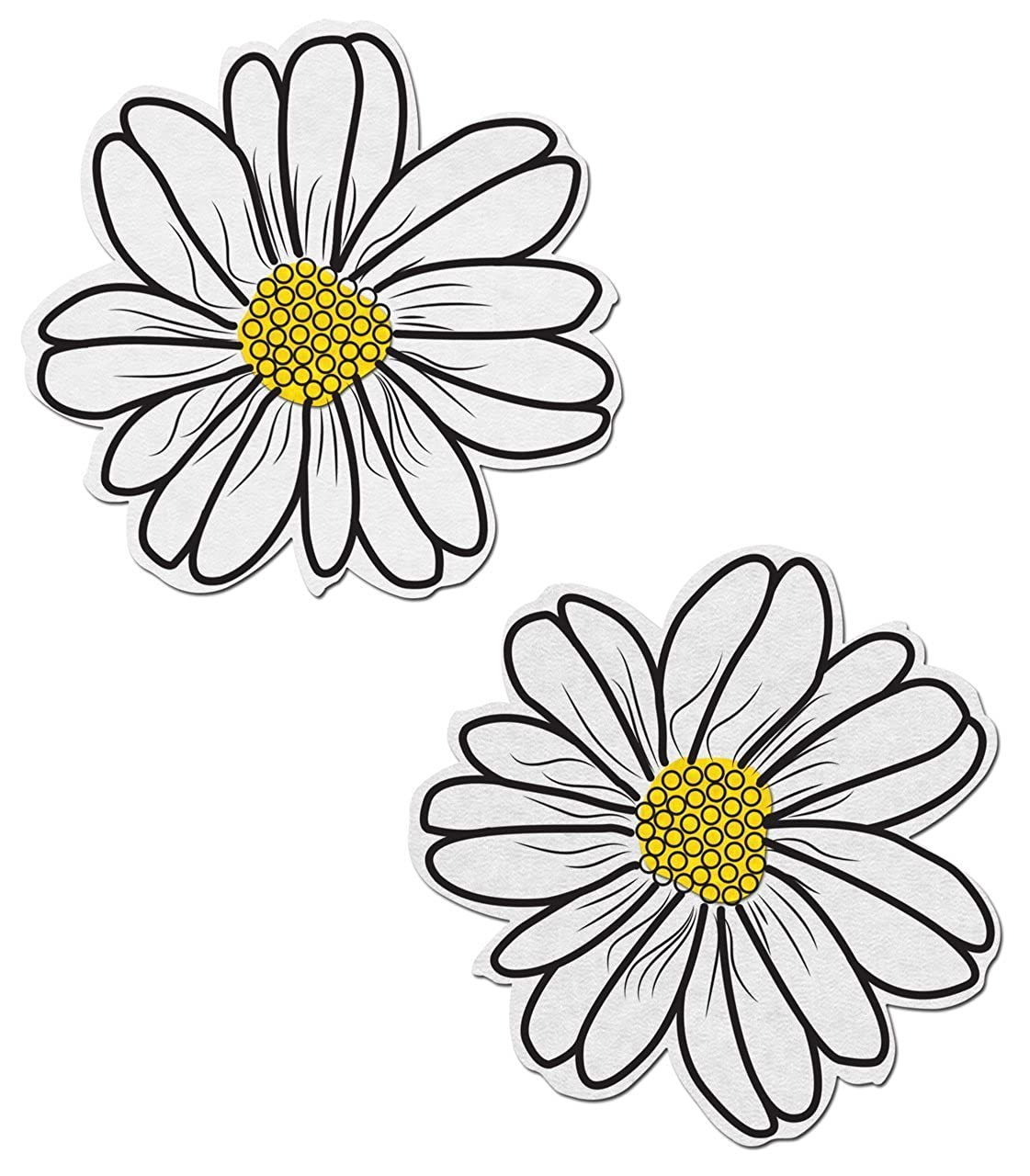 Wildflower: White and Yellow with Black Flower Nipple Pasties by Pastease® o/s WLD-WT-BK-YL