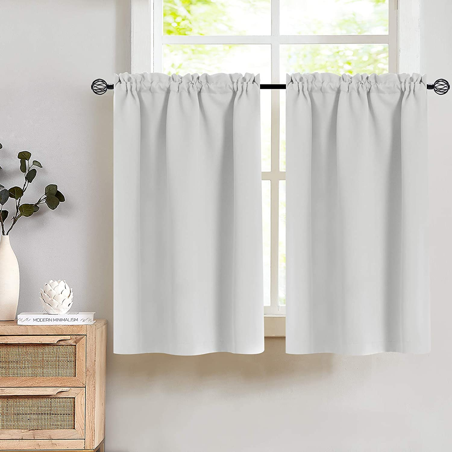 Light Grey Thermal Insulated Tier Curtains Room Darkening- Energy Efficient Kitchen Top Curtain Panels for Short Basement Windows for 2 Panels W34 x L24 Inches Light Grey