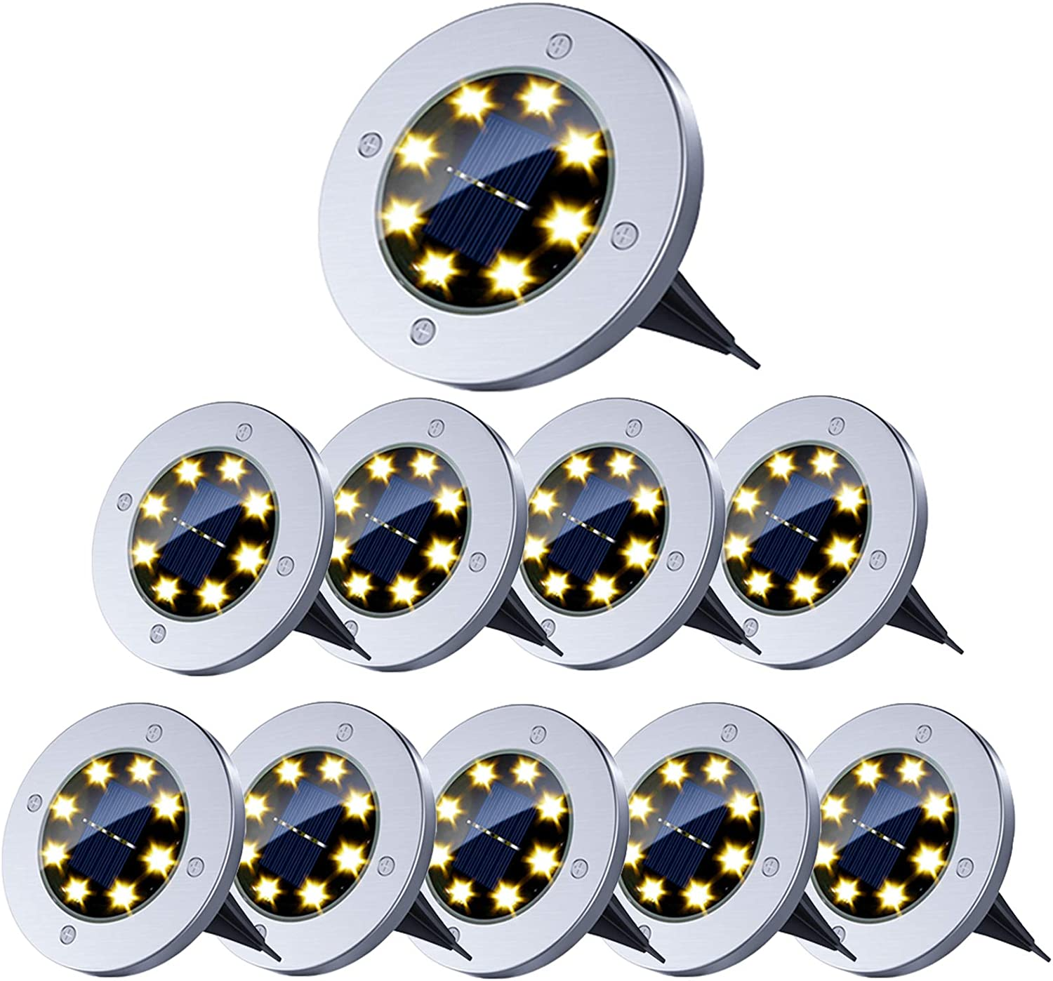 Solar Ground Lights,8 LED Solar Garden Lights Outdoor Waterproof In-Ground Lights Landscape Lights for Patio Pathway Lawn Driveway Walkway (10 Packs Warm White)