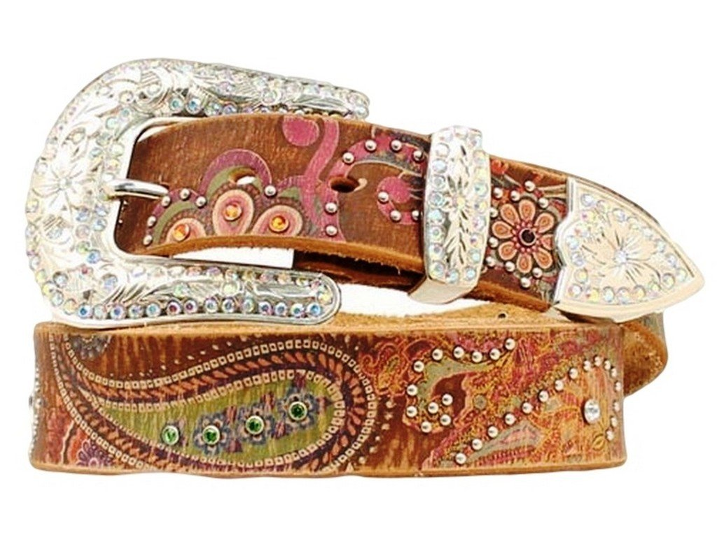 Nocona Women's Multi Color Floral Print Belt, Light Brown, S