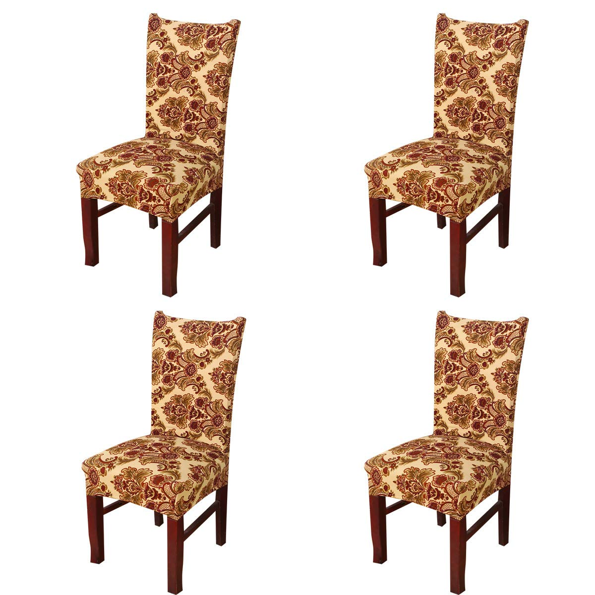 Amazoncom Vonty Vintage Floral Print Dining Chair Covers Stretch
