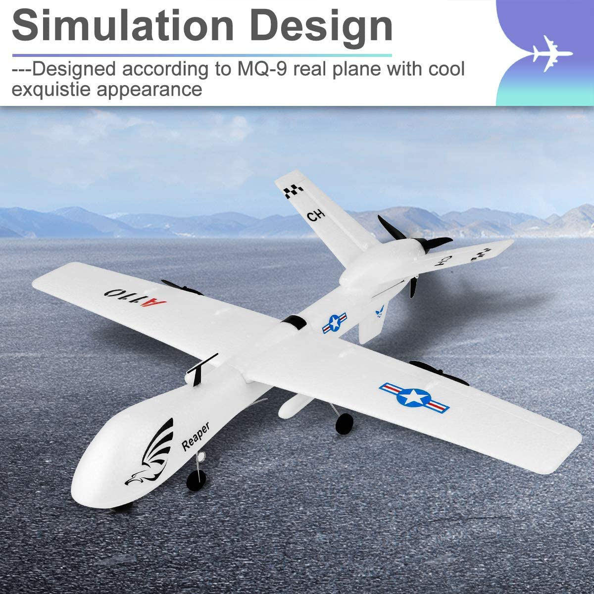 FX601 Makerstack RC Plane 2.4GHz 2 Channel Remote Control Airplane 3-Axis Gyro RC Airplane Ready to Fly for Beginner Boys Kids