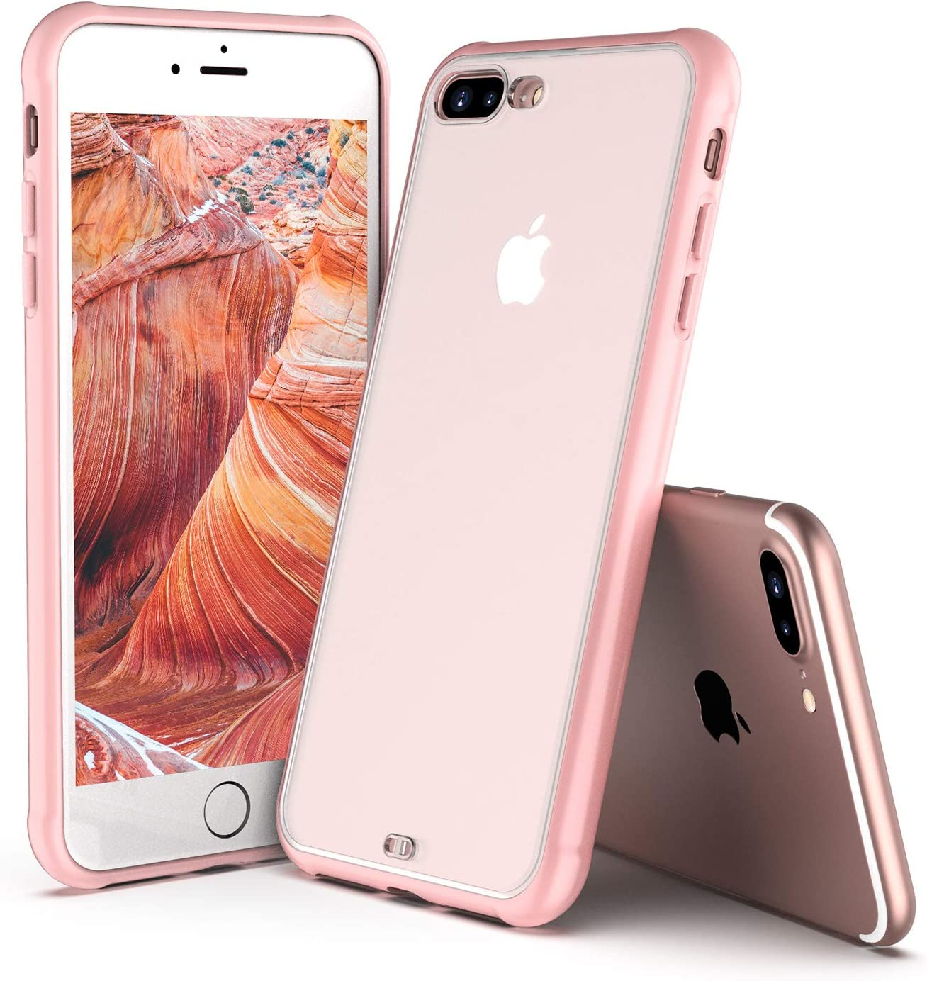ORIbox Case for iPhone 7 Plus/8 Plus, Translucent Matte case with Soft Red Edges, Shockproof and Anti-Drop Protection Case Designed for iPhone 7 Plus/8 Plus, Rose Glod