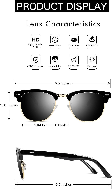 VVA Gafas de sol polarizadas cl/ásico retro medio marco para Hombre y Mujer V1002