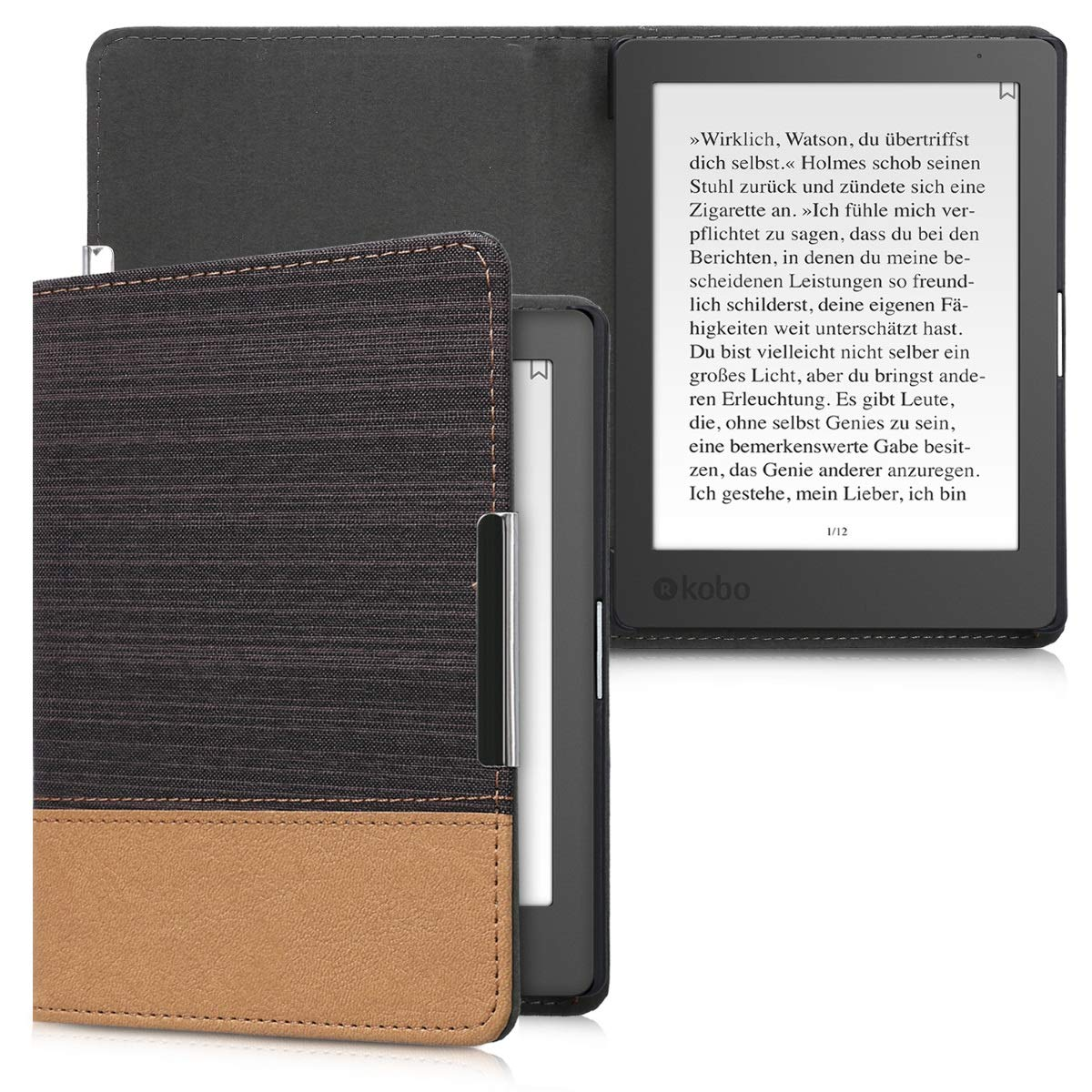 kwmobile Flip cover case for Kobo Aura Edition 1 - imitation leather foldable case in black KW-Commerce 24410.01_m000271