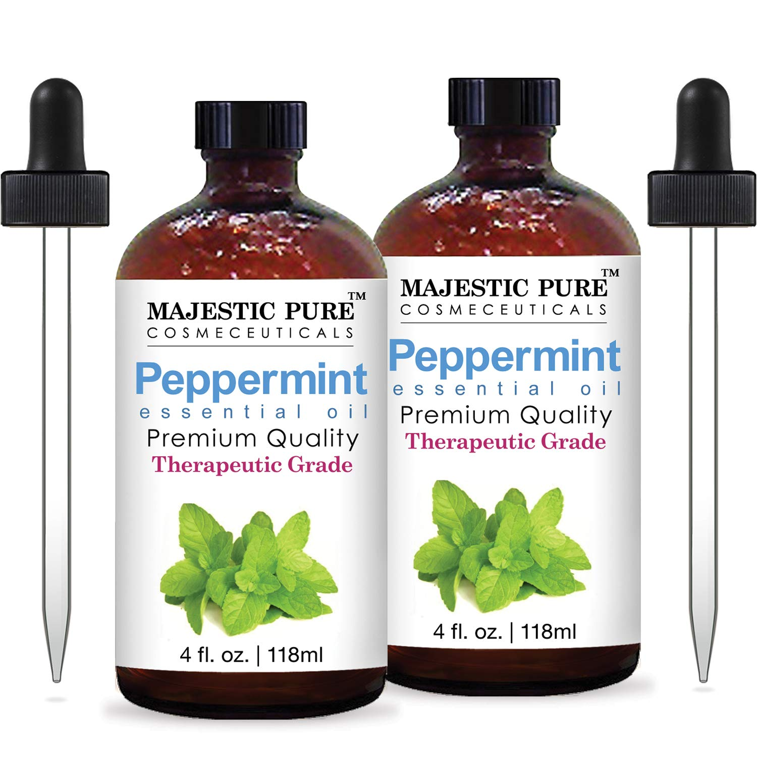 Majestic Pure Peppermint Essential Oil, Pure and Natural, Therapeutic Grade Peppermint Oil, Set of 2 4 fl. oz.