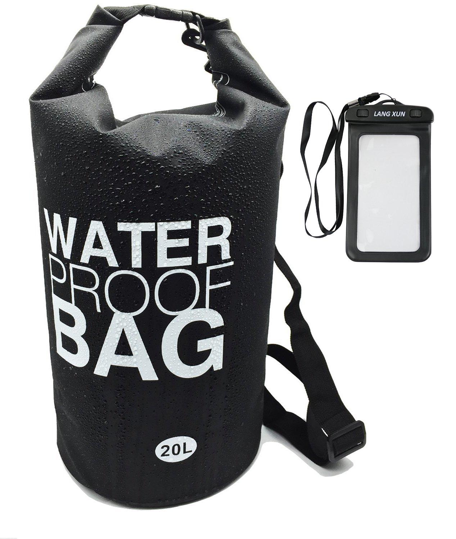 langxun impermeable bolsa seca, 500d PVC tejido, 10L, 20L para submarinismo, Kayak, natación, canotaje, pesca, camping, piragüismo, Rafting, snowboard | estancos Roll-top y cierre desmontable ajustable con correa para el hombro