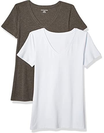 44768cf54c Amazon Essentials Women's 2-Pack Classic-Fit Short-Sleeve V-Neck T