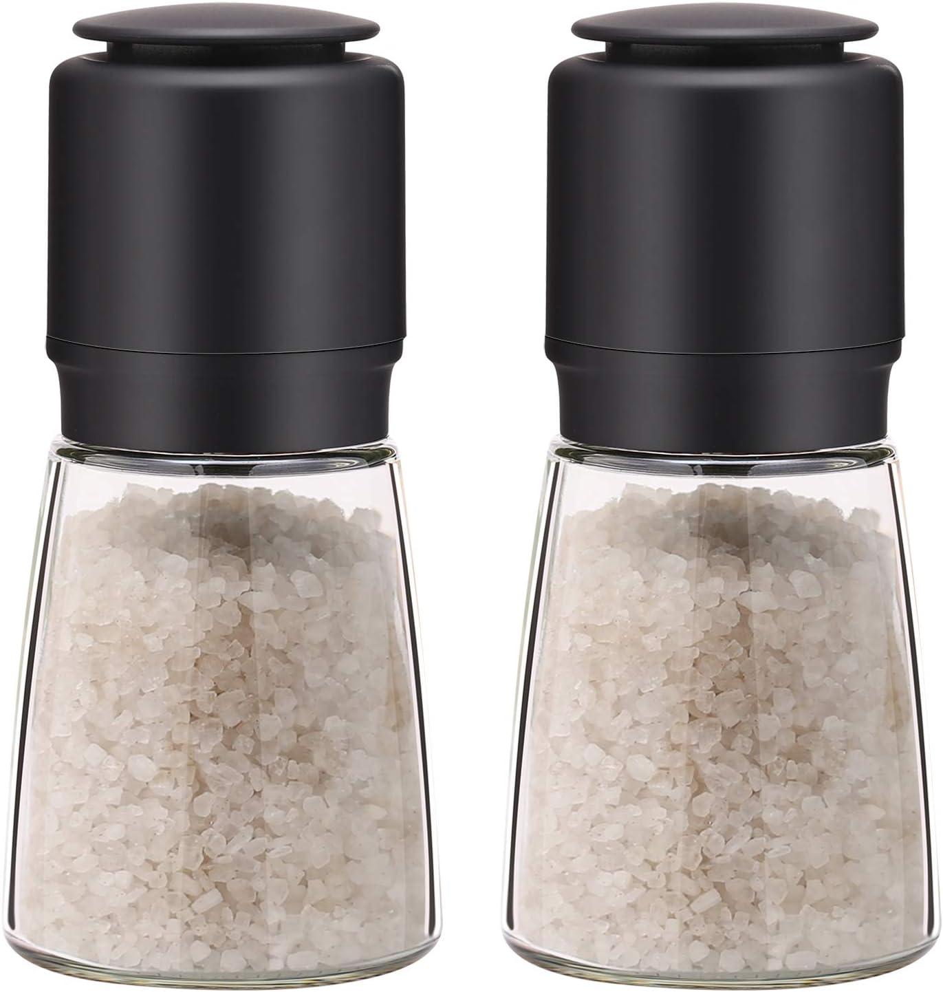AMINNO Pepper Mills Adjustable Coarseness Spice Grinder Salt Pepper Mill 2 Pack, Food Grade Ceramic Grinder Blades, Kitchen Gadgets Tool Easy to use