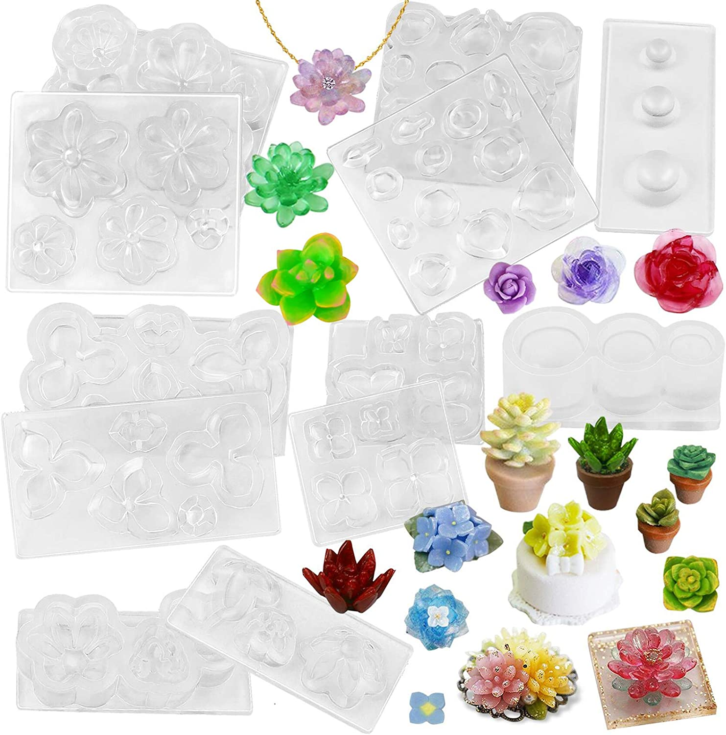 FUNSHOWCASE Succulent Flower Pot Resin Silicone Molds Set of 6 Mini Trays for Jewelry Casting Bracelet Charm Earrings Pendant Ring Miniature Ornament