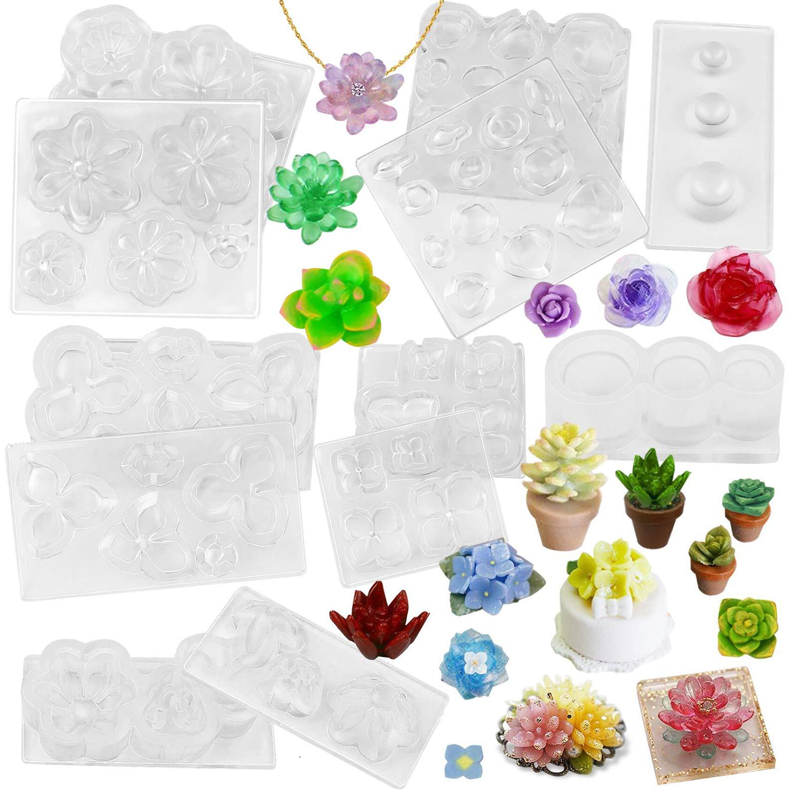 FUNSHOWCASE Miniature Succulent Flower Pot Resin Silicone Molds Set of 6 Mini Trays for Jewelry Casting Bracelet Charm Earrings Pendant Ring Ornament
