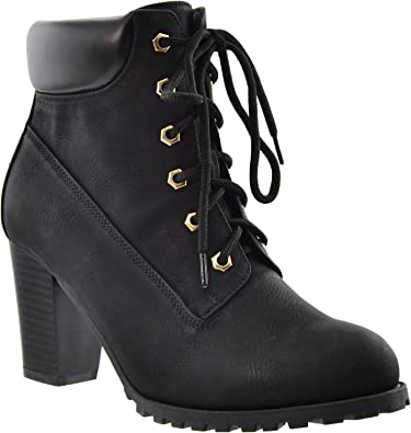 Lace Up Booties Chunky Heel