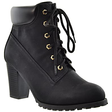 Womens Boots Lace Up Stacked Chunky Heel Ankle Padded Booties KSC-WB-A10