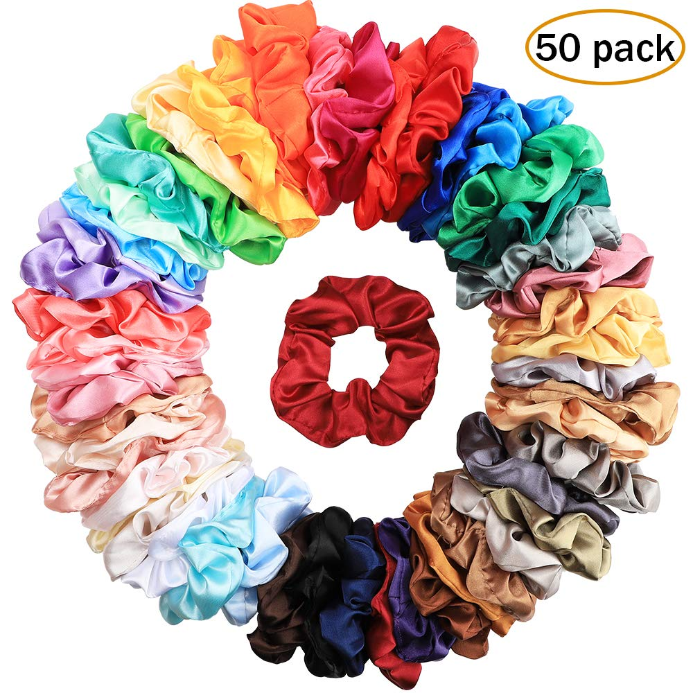 Isbasa 50 Colors Hair Scrunchies Satin, Elastic Hair Bobbles Hair Scrunchy Ties Vintage Hair Bands Soft Ponytail Holder for Women and Girls by Isbasa