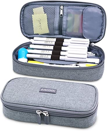 Aiscool Big Capacity Pencil Case Pen Pouch Holder Bag Stationery Box Gray