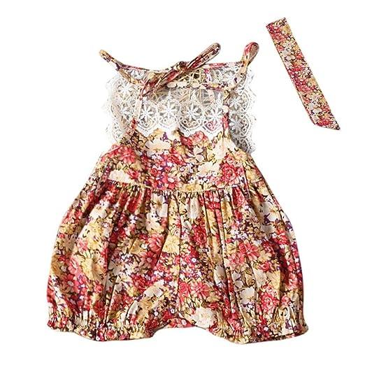 e031d4dd549 Botrong Toddler Baby Girls Floral Romper Halter Jumpsuit Playsuit Outfits  Clothes Set (6 Months)