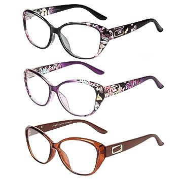 Lot de 3 paires de lunettes de lecture LianSan à grandes montures, style  mode vintage d7386ea5b0b8