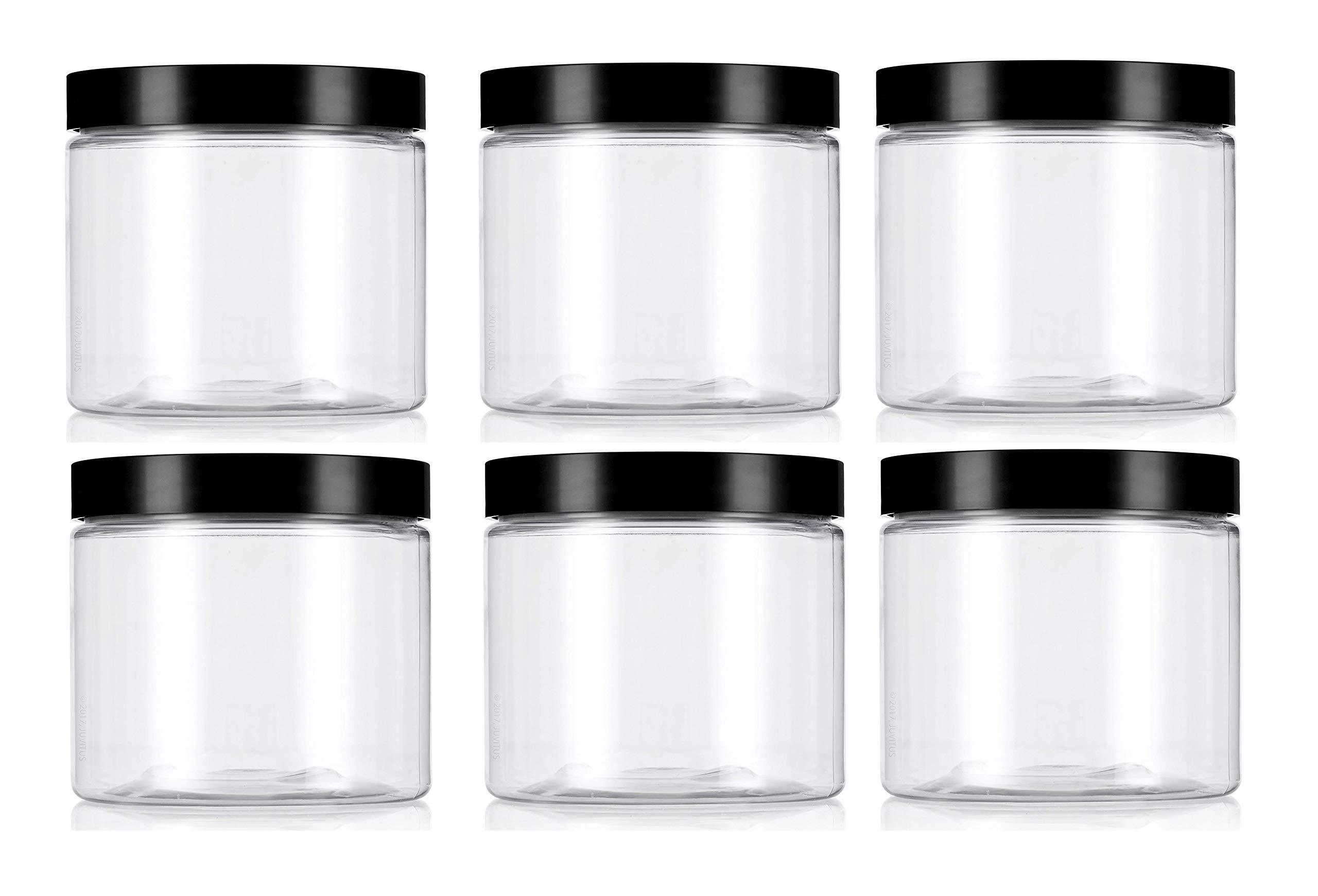 Premium Vials CRC870400-6 Clear Plastic Jar with Black Lid, 8 oz Capacity (Pack of 6) by Premium Vials
