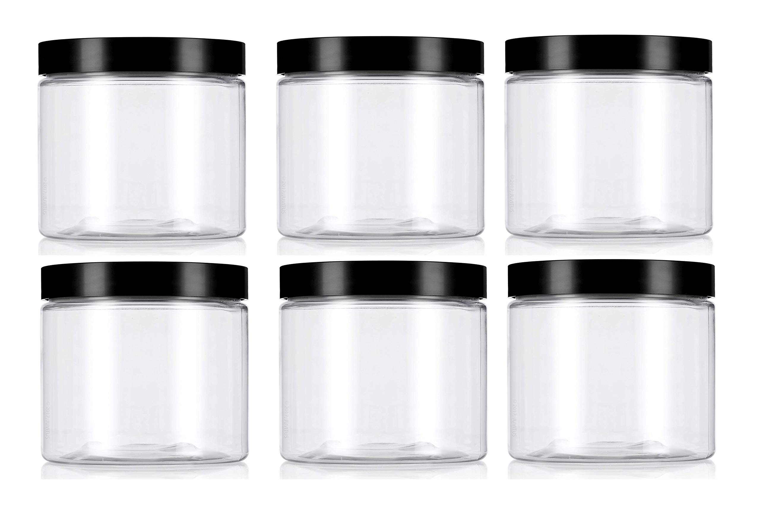 PremiumVials Pack of 6 Premium Vials 4OzFGJarB-6-ZT Frosted 4 oz Glass Jar with smooth black lid