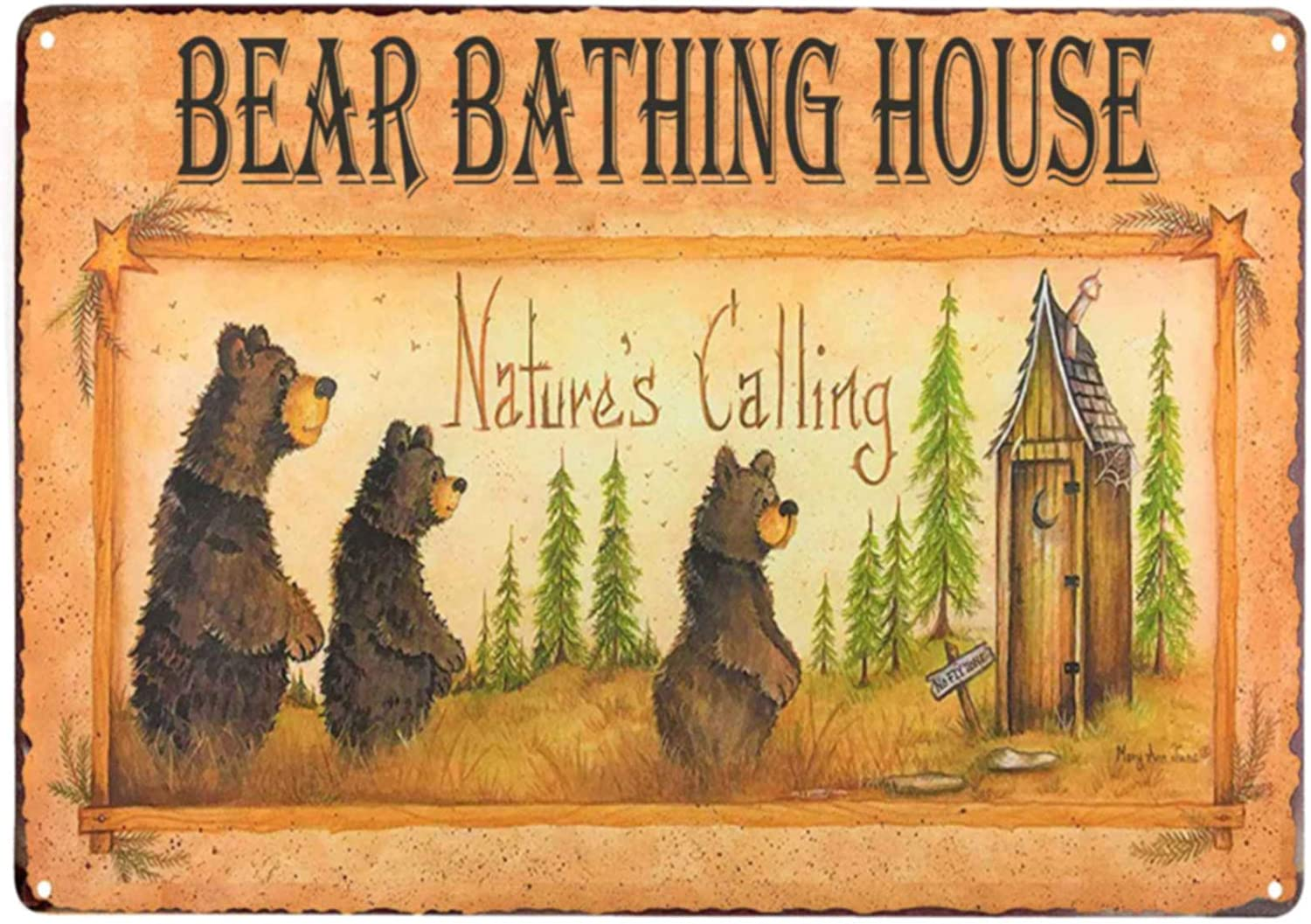 Bear Bathing House Vintage Metal Tin Sign Wall Art Decor for Living Room Home Coffee Bar Signs Gifts Decoration 8X12Inch