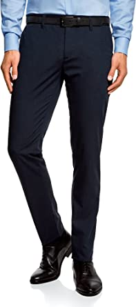 oodji Ultra Hombre Pantalones Slim con Acabado de Raso