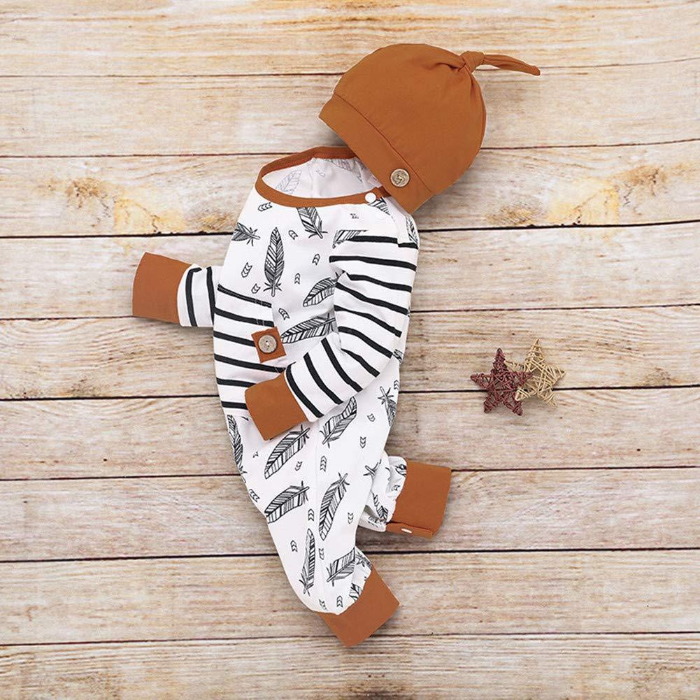 Dcohmch Newborn Infant Baby Boys Girls Long Sleeve Romper Jumpsuit+Hat Toddler Baby Cartoon Onesies Bodysuit Autumn Clothes