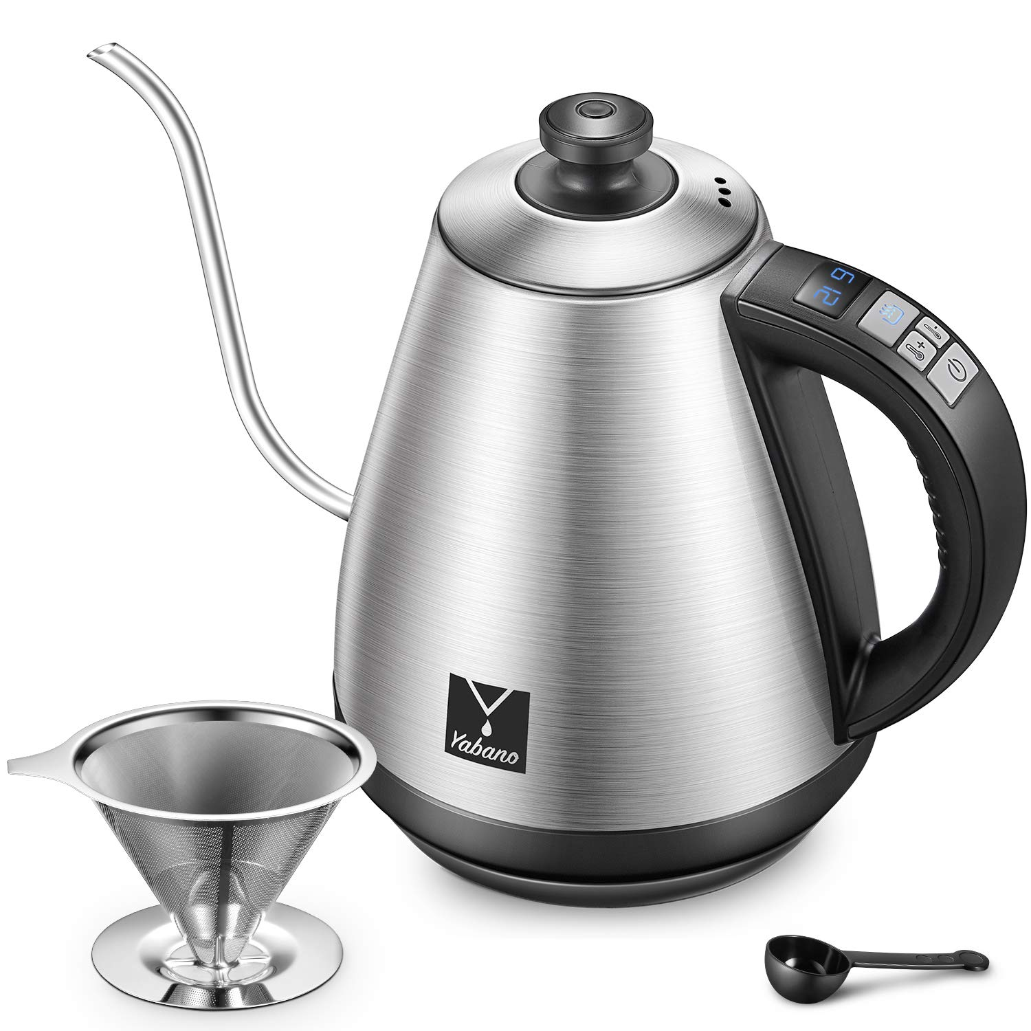 Electric Kettle, Yabano Gooseneck Pour Over Coffee Kettle With Coffee Filter, Digital Variable Temperature Control Kettle for Coffee and Tea, Stainless Steel, Auto Shut-off and Keep Warm