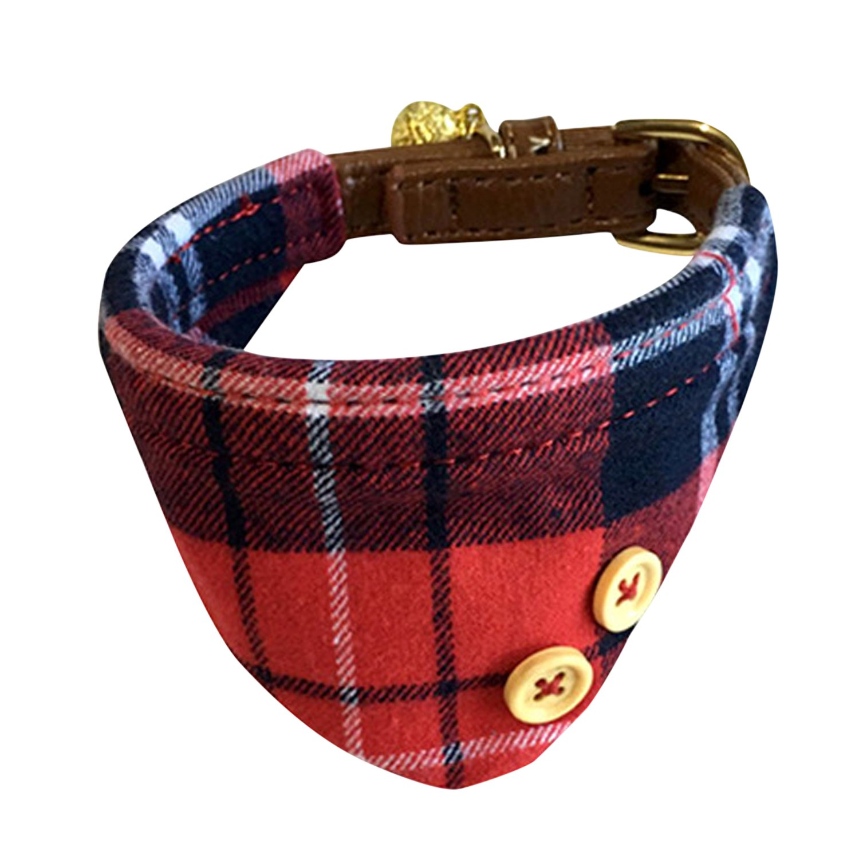 Boodtag Bandanas Chien Triangle Echarpe Foulard Classique Coton Faux Cuir Collier avec Cloche pour Animaux Domestique (Rose)