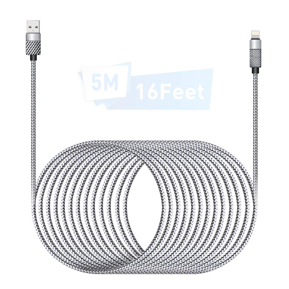 [MFi Certified] iPhone Charger 16FT/5M Lightning Cable Extra Long iPhone Charging Cord Nylon Braided Fast Apple Charger Cable iPhone 12 11 Pro X XS Max XR/8 Plus/7 Plus/6/6s Plus/5s /5c/iPad Mini Air