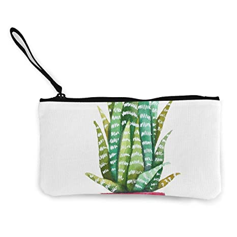 Canvas Cash Coin Purse,Succulent Plant Print Make Up Bag Zipper Small Purse Wallets
