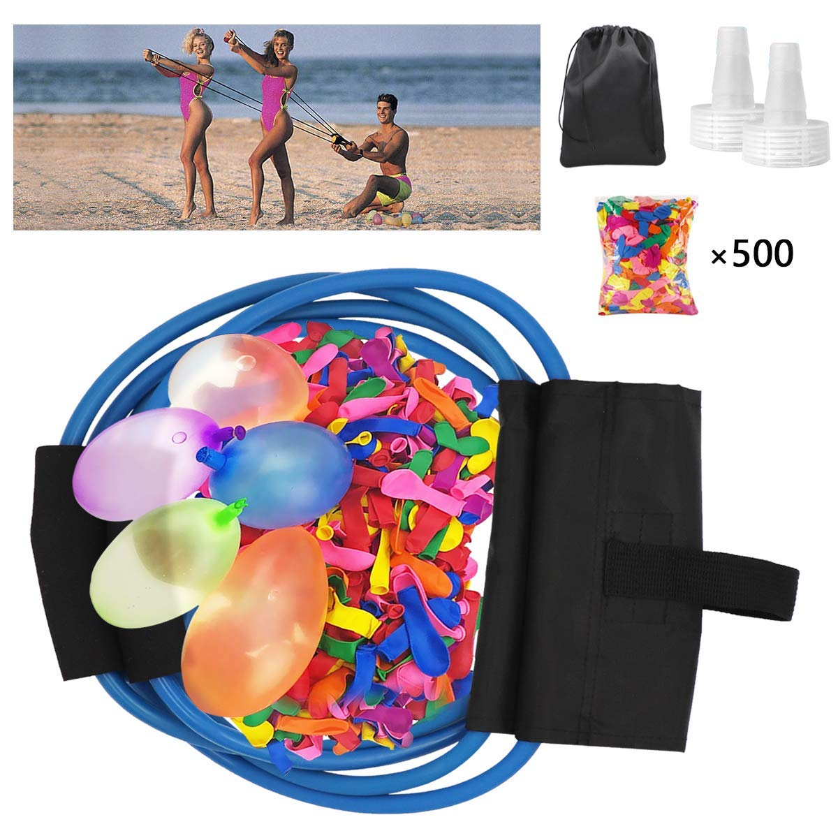POKONBOY Water Balloon Launcher with 500 Water Balloons , 500 Yards Water Balloon Slingshot / Cannon / Launcher with 2 Refill Kits Fight Pool Party Toy, 3 Person Giant Angry Birds Summer Beach Games by POKONBOY