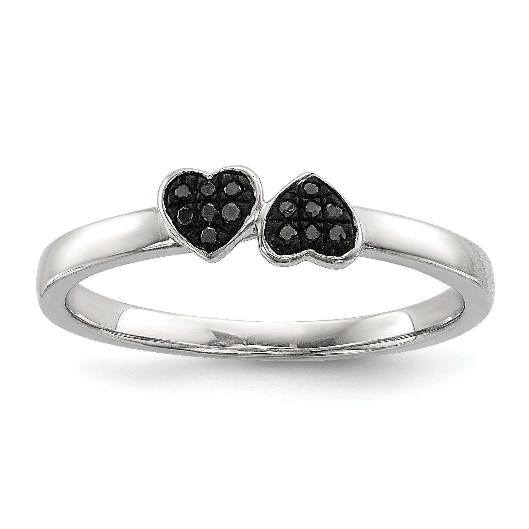 ICE CARATS 925 Sterling Silver Black Diamond Stackable Band Ring Size 6.00 S/love Fine Jewelry Gift For Women Heart