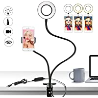 Buluri Led Selfie Licht mit Handy Halter, 3 Leuchtmodi und 10 Helligkeiten Stufen LED Ringlicht für Live Stream, YouTube, Facebook, Samsung, iPhone 7/8 / iPhone X, Tablet, Laptop (Schwarz)