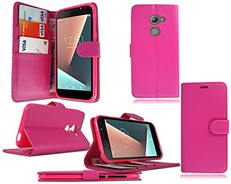 Vodafone Smart N8 VFD 610 New Premium Luxury Leather Flip Wallet Phone Case  Cover - Pink Book Wallet + Screen Protector For Vodafone Smart N8 VFD 610