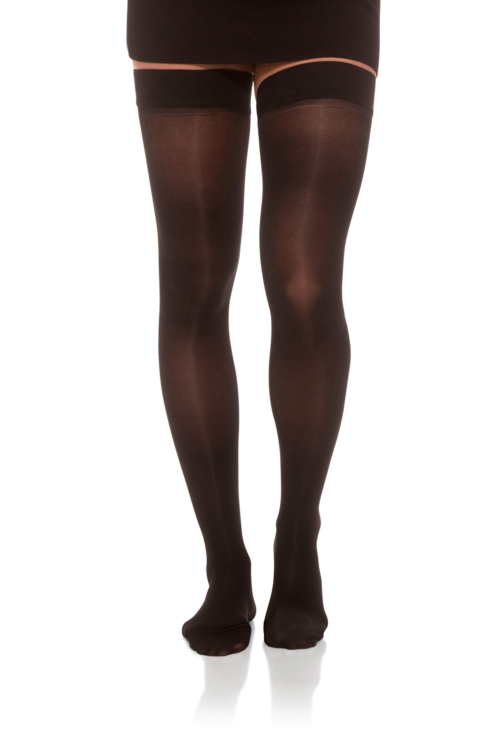 Jomi Compression, Unisex, Thigh High Stockings Collection, 8-15mmHg Sheer Closed Toe 045 (Large, Black) by JOMI COMPRESSION