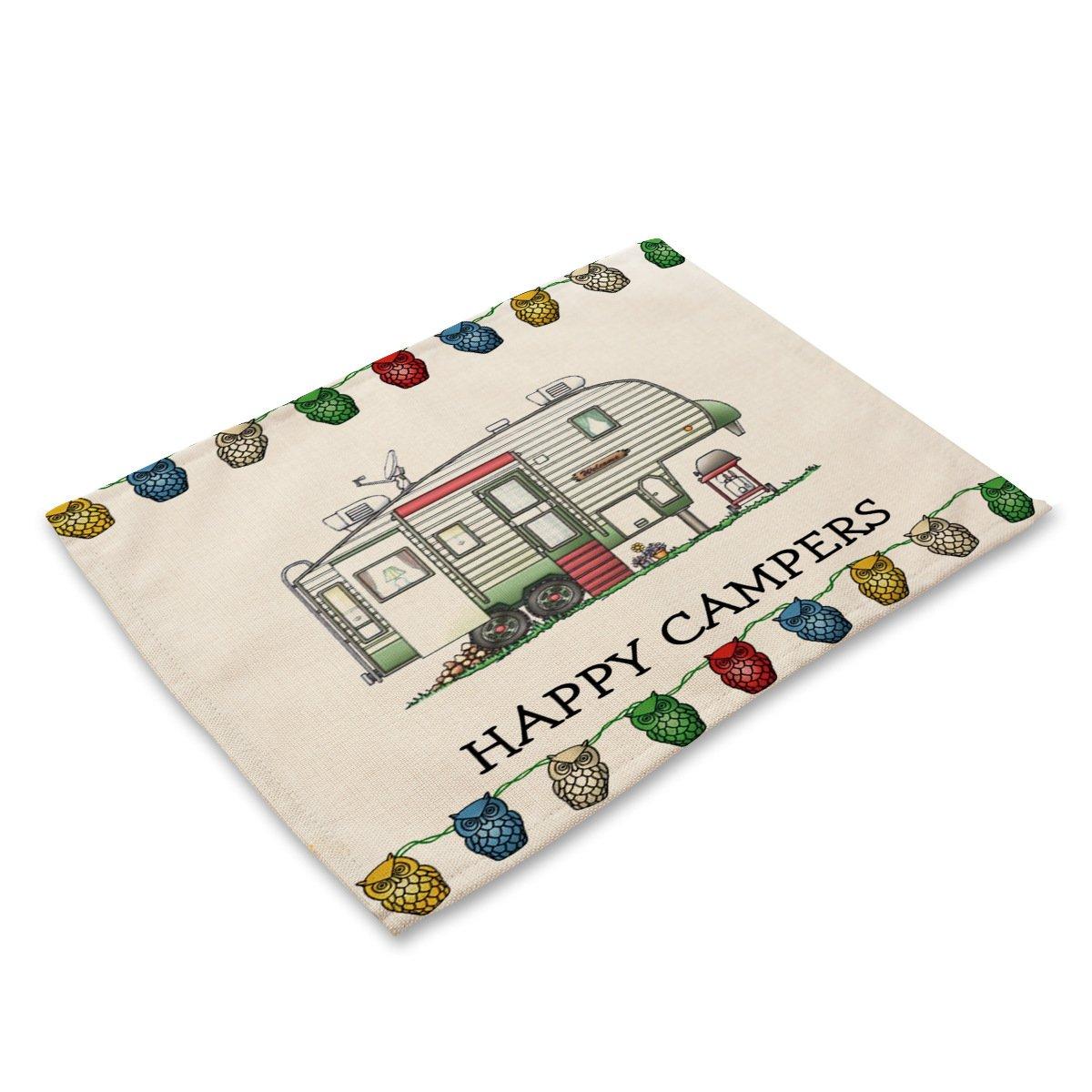 Eazyhurry Happy Camppers Set de Table Lavable avec Impression de Camping-Cars pour Tasses 41,9 x 31,8 cm