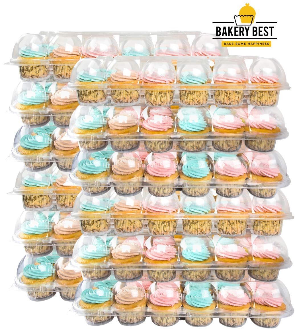 BAKERY BEST [12 Pack X 24 Counts] Cupcake Carrier   Plastic Holder, Container, Storage Tray   Interlocking Trays   Unhinged Lid by BAKERY BEST