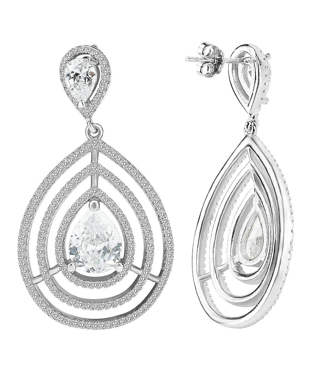 Elensan 925 Sterling Silver April Birthstone Water Retro Stud White Crystal Drop Earrings