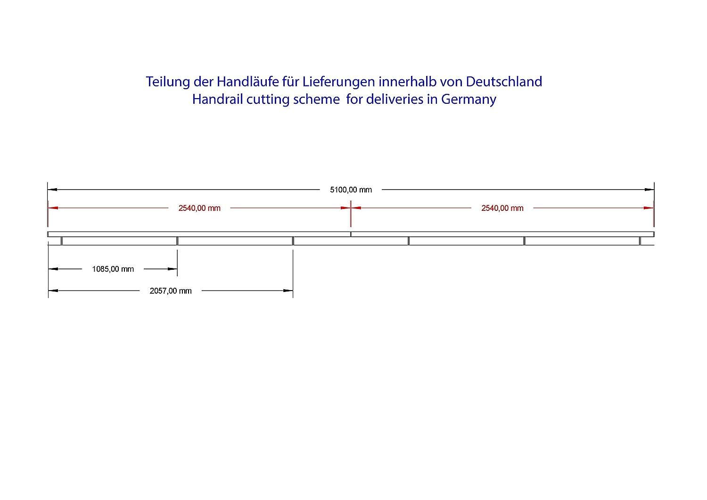 Corrimano in acciaio inox V2/A 42,4/mm 240/K levigato parete corrimano diviso con dritto terminale 3200/mm