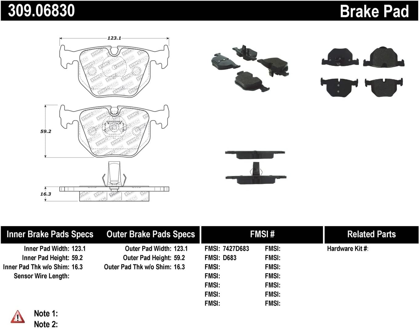 StopTech 309.06830 Street Performance Rear Brake Pad