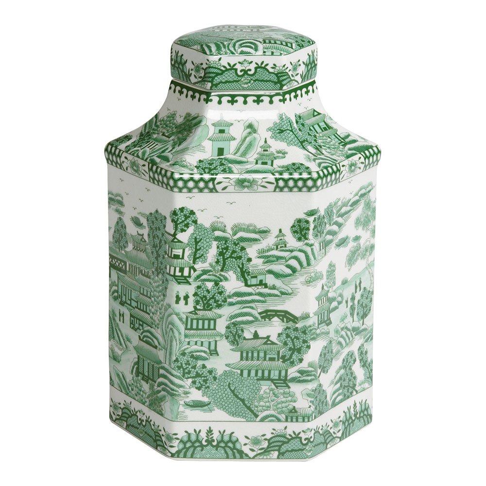 Ethan Allen Hexagon Porcelain Jar, Green