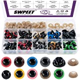 ◕‿◕ Swpeet 90pcs 12MM 9 Color Plastic Safety Eyes and 10Pcs 12MM Noses Set for Doll, Puppet, Plush Animal Making and Teddy Be