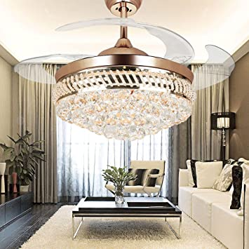 Exceptional COLORLED Modern Crystal Remote Control Transparent Acrylic Blade Retractable  Ceiling Fan Lamp 42 Inch Lighting