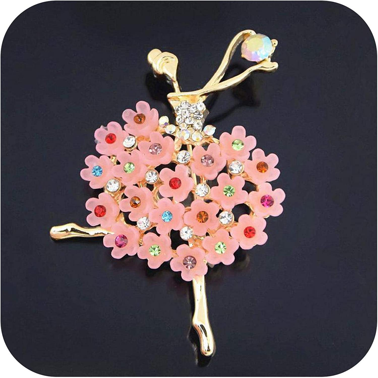 Chllrg Womens Brooches Rhinestones Crystal Crown Large Flower Bridal Brooch Pin Wedding Fashion Jewelry Decoration broches