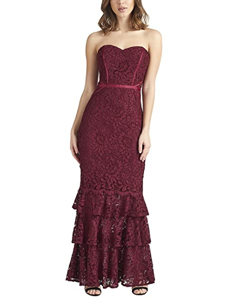 5a2faec9ce Lipsy Womens VIP Lace Fishtail Bandeau Maxi Dress Red US 2 (UK 6 ...